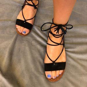 tie up black sandals